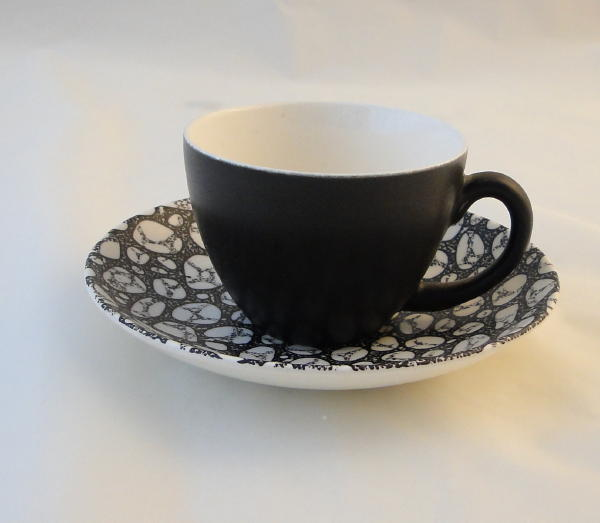 Poole Pottery Black Pebble Demi Tasse Coffee Cups And Saucers