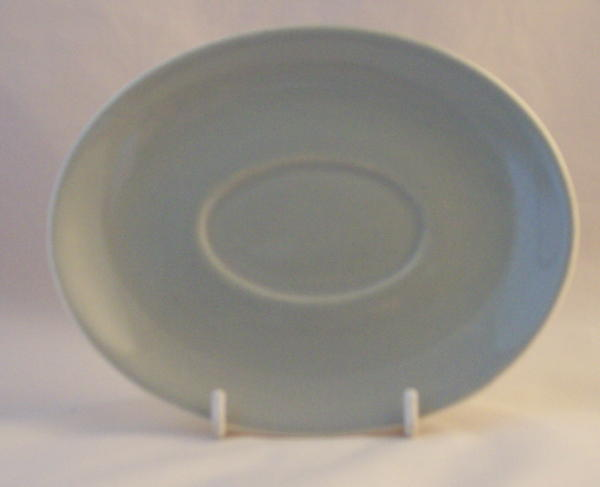 Poole Pottery Celadon Gravy Jug Saucers (Streamline Shape)