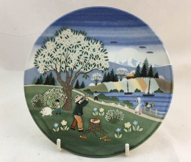 Poole Pottery High Glazed Transfer Plate, 421, Spring