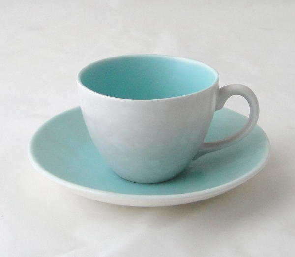 Poole Pottery Ice Green And Seagull Small Demi Te Coffee Cups Saucers