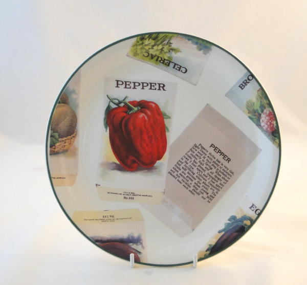 Poole Pottery Seed Packets Red Pepper Salad Breakfast Plates