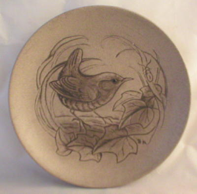 Poole Pottery Stoneware Plate, Wren on Branch