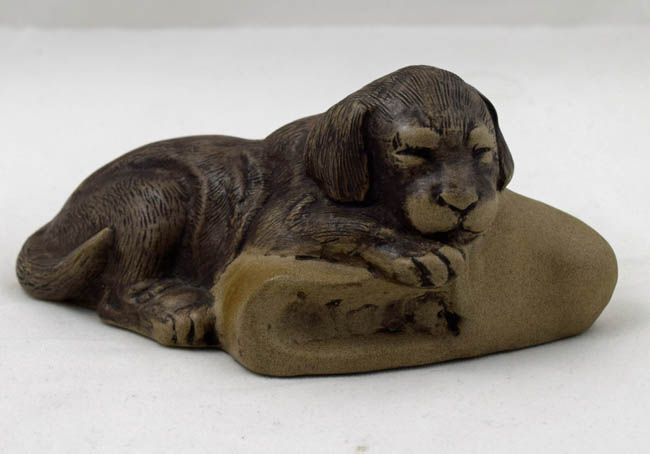 Poole Pottery Stoneware Sculpture, Puppy with a Slipper