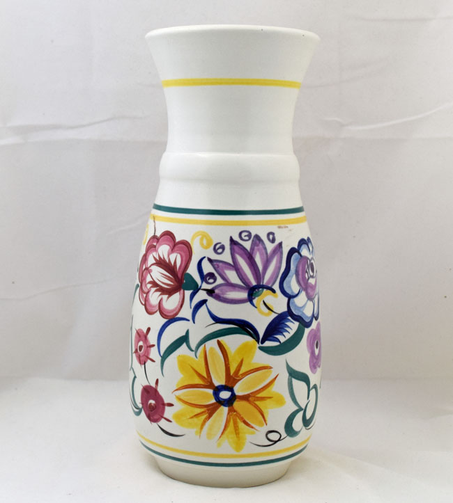 Poole Pottery Tall Hand Painted Traditional Vase In The Cs Pattern