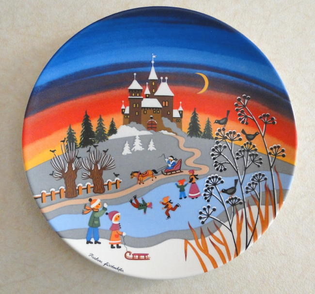 Poole Pottery Transfer Plate, 424 Winter I