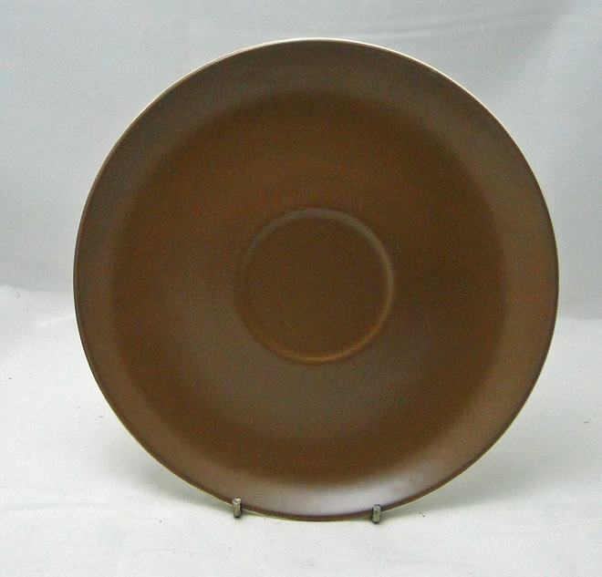 Poole Pottery Twintone Mushroom and Sepia (C54) Large Saucers for Soup Cups