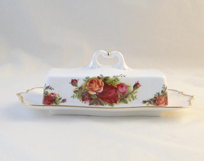 Royal Albert Old Country Roses Lidded Butter Dishes