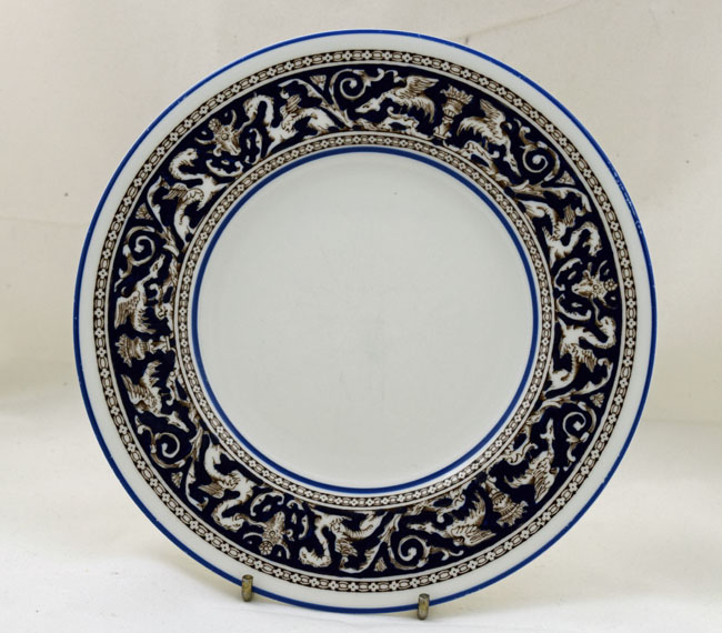 Wedgwood Navy Florentine Seven Inch Tea Plates